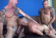 Hairy Muscle Daddy Threeway Double Bareback Penetration: Jon Galt, Vic Rocco & Alessio Romero