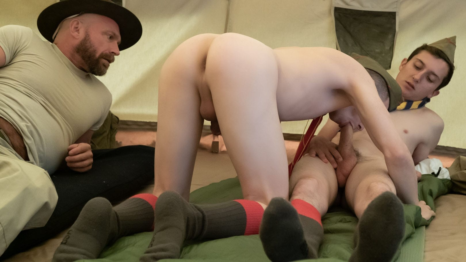 Boys At Camp: Scouts Jack, Austin & Scoutmaster Knox (Bareback)