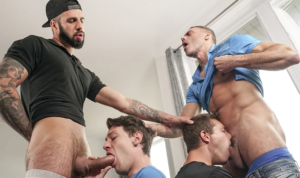 Pleasing StepDad's Best Friend: Benjamin Blue, Romeo Davis, Manuel Skye & Edward Terrant (Bareback)